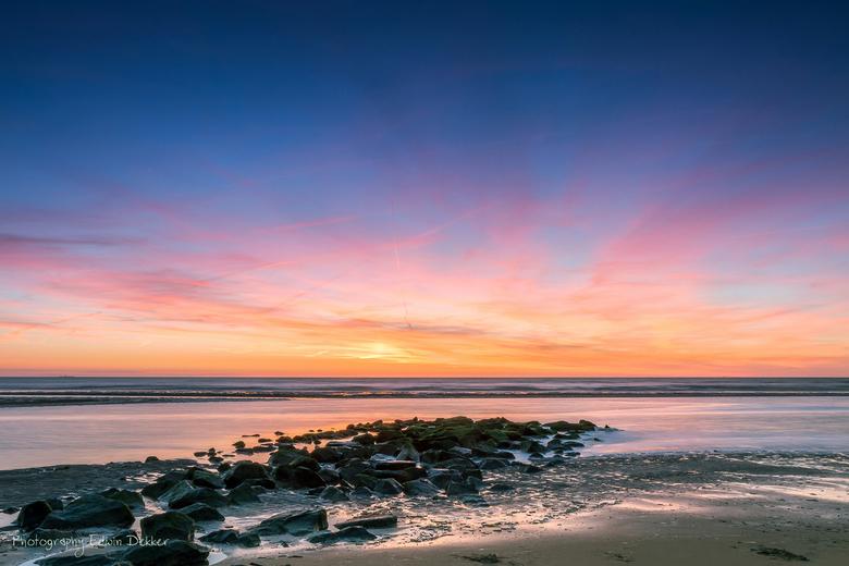 Sunset Katwijk aan Zee - Zonsondergang tijdens laagwater in Katwijk aan Zee.