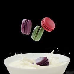 Macarons nemen een melkbad