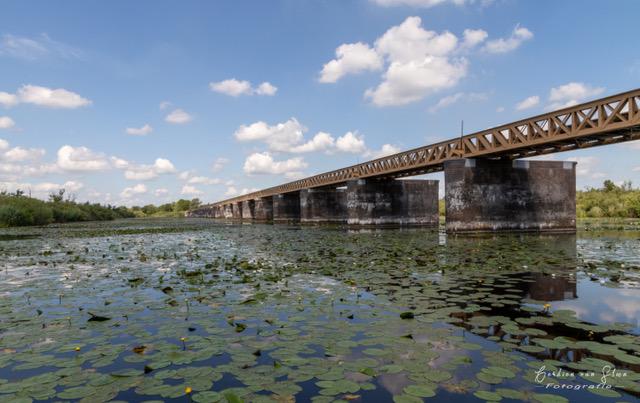 Oude spoorbrug - Moerputtenbrug Den Bosch, <br /> Was een spoorbrug over de veenplas Lange Putten in het latere natuurgebied Moerputten.