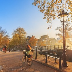 Sunrise cycling in Amsterdam