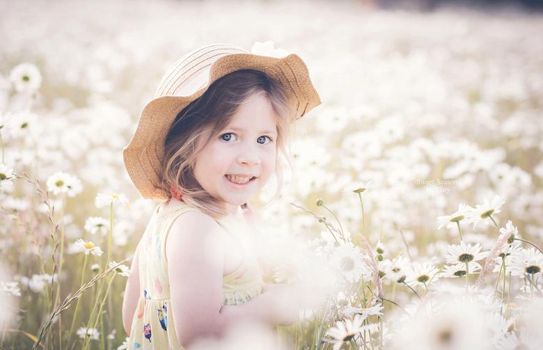 white flowers - meisje in wit bloemenveld