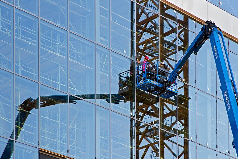 Glaszetter - Dit is de voorzijde van het nieuwe Muziekcentrum Vredenburg.