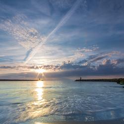 Sunset over Scheveningen harbour
