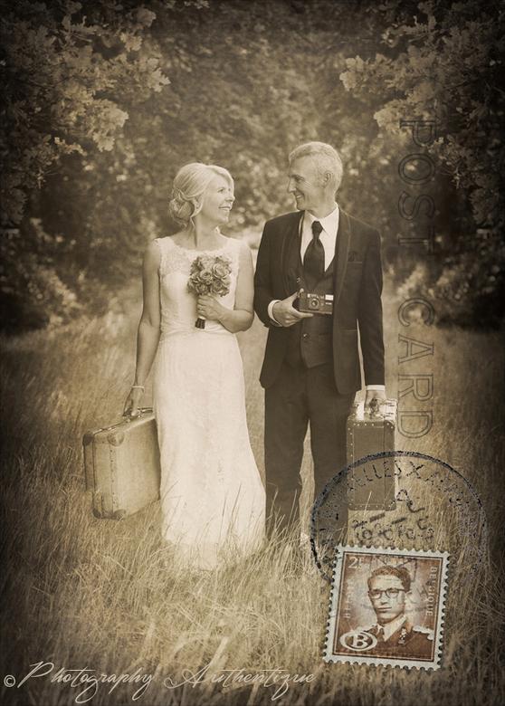 Carine en Johnny - Nog een retro bewerking voor de huwelijksfoto&#039;s van Carine en Johnny ... <br /> Ze houden van alles wat retro is en zo moeste