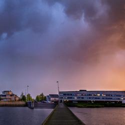 Panorama regenboog/zondsondergang: The elements