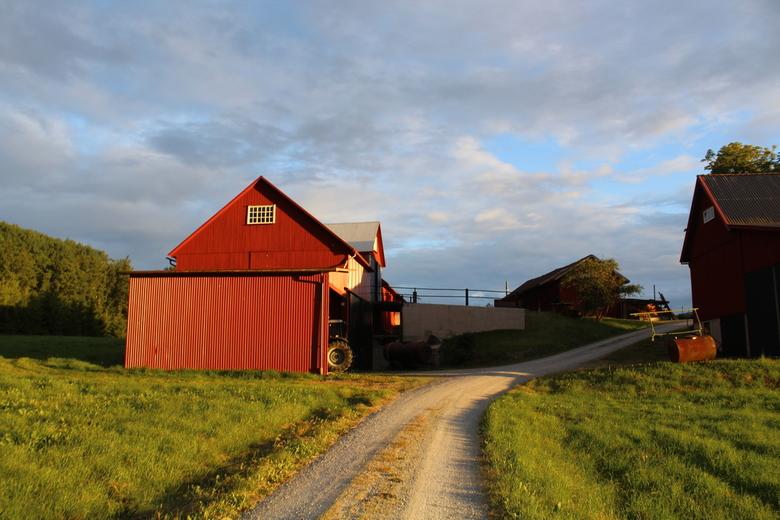 Schuur in Zweden  - Een prachtige rode boerderij in Zweden die ik tegen kwam in de bossen van Dalsland. <br /> De weg lijd tussen de boerderij en de