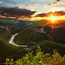 Gorges de l'Ardèche zonsondergang