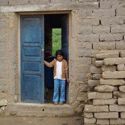 weg van de stoffenmarkt in Tarabuco Bolivia