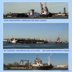 Sleper Union Sapphire/Smit Barge 10/Ass.duw schip Rijn