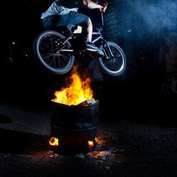 BMX 180 hop over fire