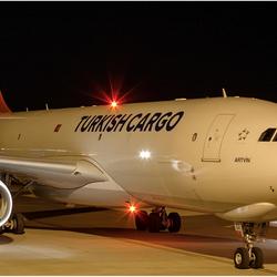 Turkish airplane by night