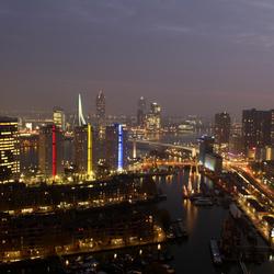 Skyline Rotterdam by falling night
