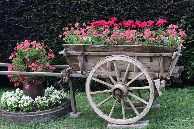 Boerenkar. - Deze vrolijke boerenkar stond ergens in een tuin in Frankrijk.<br /> <br /> 27 mei 2019.<br /> Groetjes Bob.