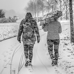 Walking in the snowstorm