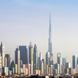 Panorama Dubai met Burj Khalifa