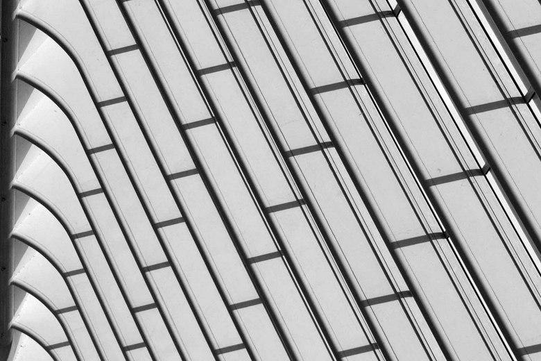 Zwart wit - Onderdeel van het dak gare Guillemins in Luik in zwart wit