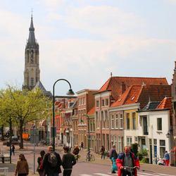 Gezicht op Delft met Nieuwe Kerk