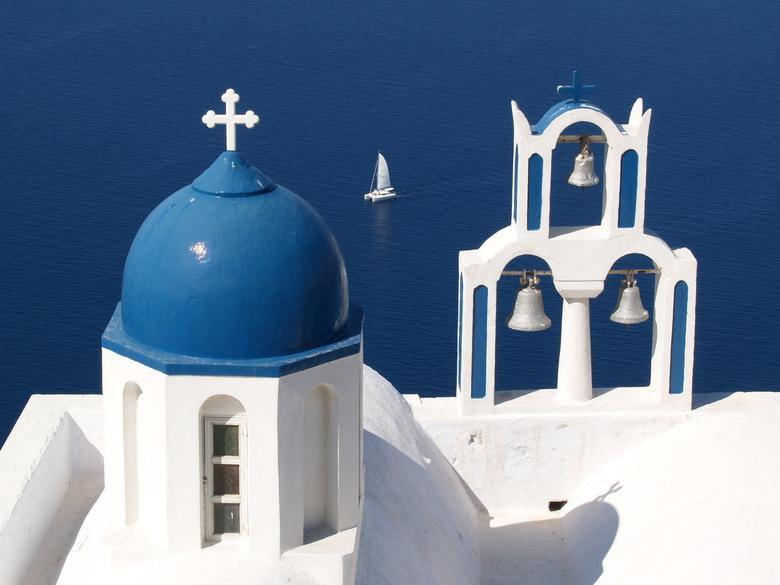 Theoskepasti kerkje op Santorini - Theoskepasti kerkje in Imerovigli op het Griekse eiland Santorini