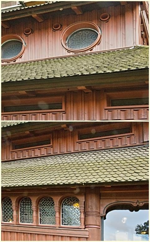 De Gustav Adolf Stabkirche in Hahnenklee, foto 8. - Omdat de buitenkant in de steigers stond heb ik twee kleine close-ups gemaakt van de buitenkant wa