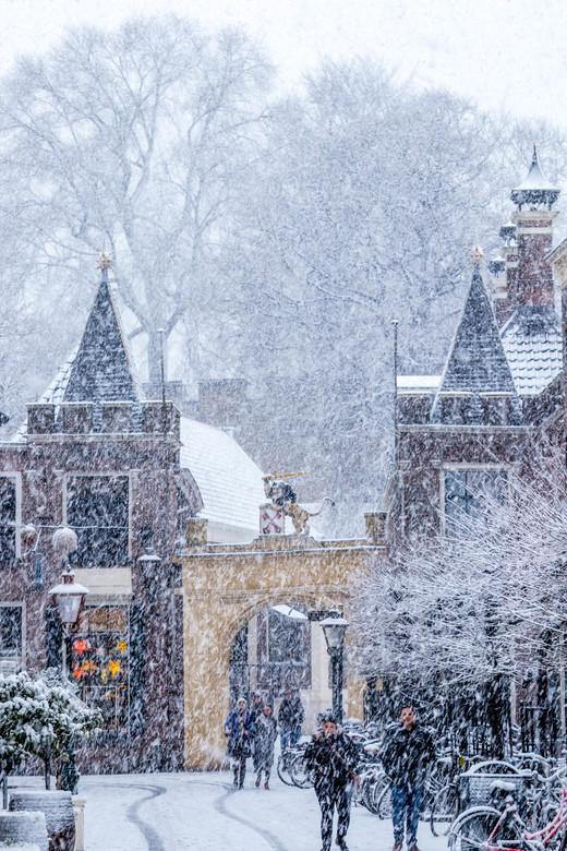 ingang de burcht in de sneeuw
