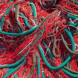 Blue rope in red