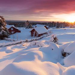 Snowbound Norwegian Hamlet at Sunset