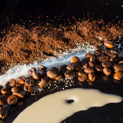 Koffie.... met suiker en melk.