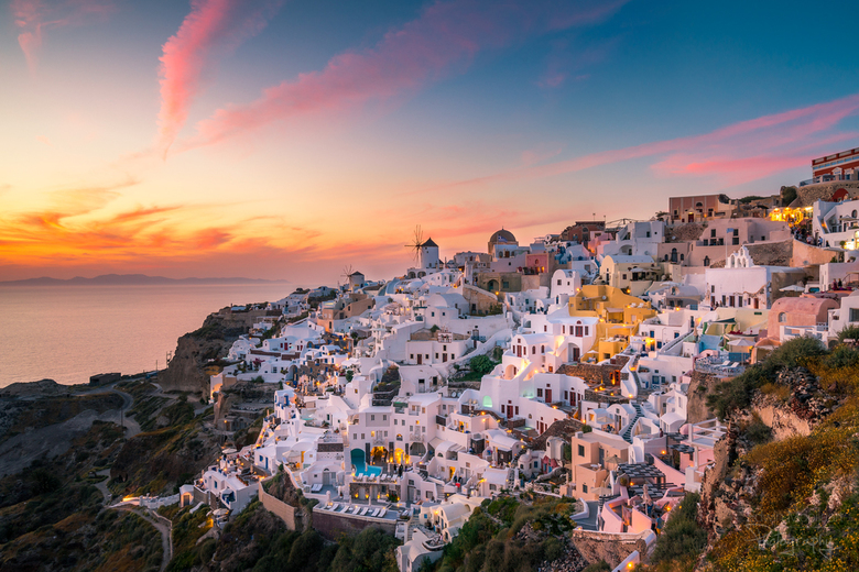 Santorini zonsondergang