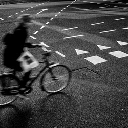 Lines Signs Stripes and A Cyclist