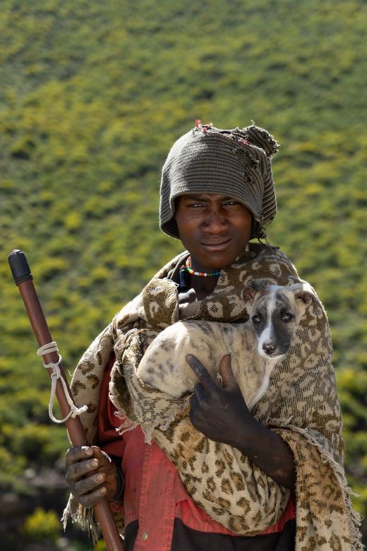 The Lesotho Shepherd - The Lesotho shepherd with his dog.