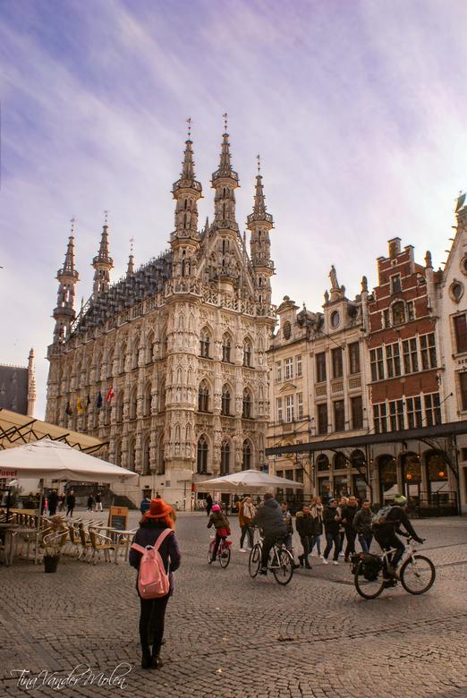 Leuven - Het meisje met de roze rugzak bleef net op de perfecte moment staan om te genieten van het uitzicht op de Grote Markt in Leuven.