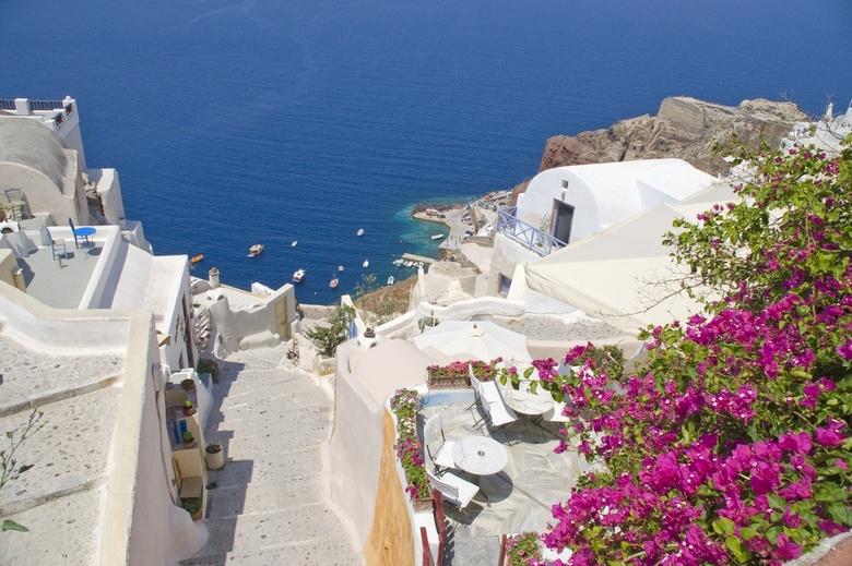 Geweldige trap - Enorm lange en steile trap op Santorini Griekenland