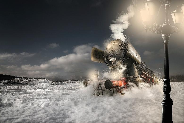 The Snow Express - Een manipulatie van 3 foto's
