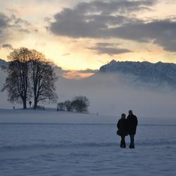 Winters avondrood