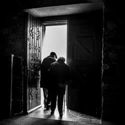 Exit through the church