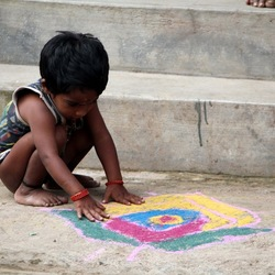 Child and the floordrawing
