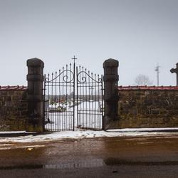 Mistige begraafplaats