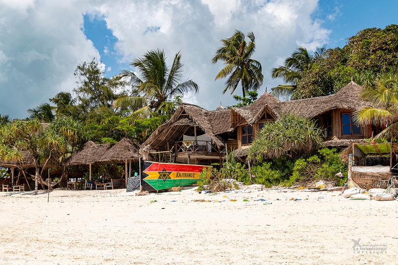 Zanzibar - Kajibange Guesthouse verscholen onder de palmbomen aan het strand van Zanzibar. De kleurrijke 'boot' is de loungebank van het gue