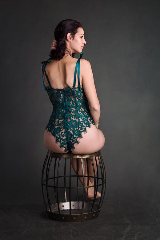 Hana in a green bodysuit - model Hana