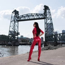 Beauty in red catsuit