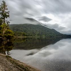 Grijze ochtend bij Iveagh Bay, Lake Brunner (NZ)