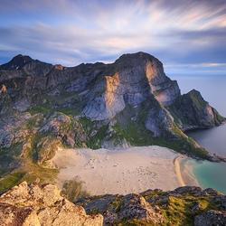 Strand van Bunes, Lofoten, Noorwegen