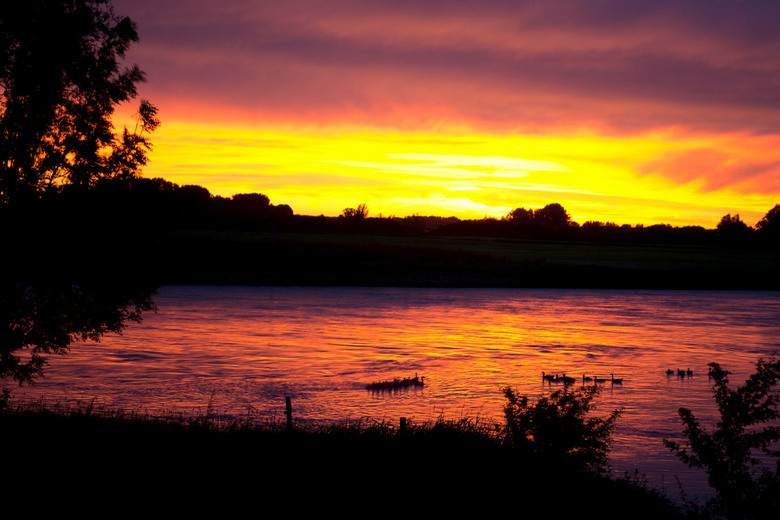 Sunset - Zonsondergang met eendjes.