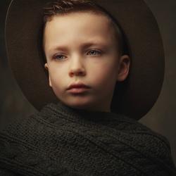 Portret met groene hoed