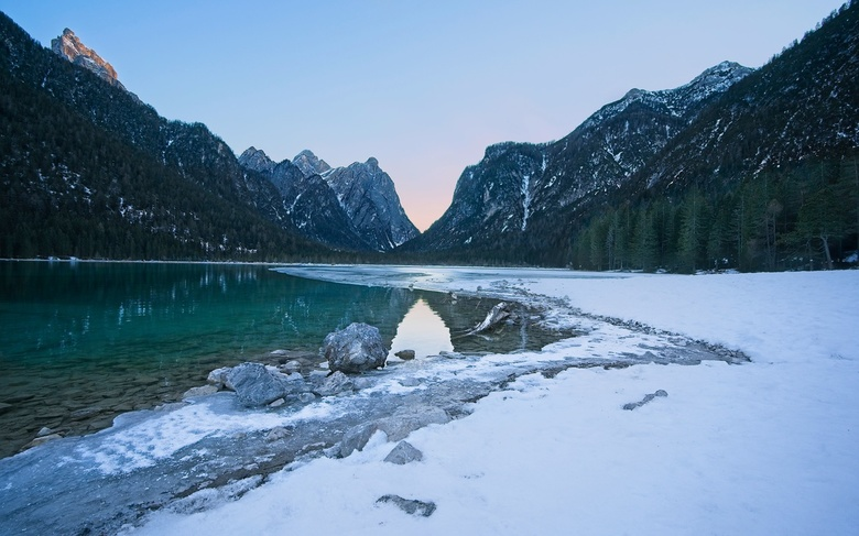 Lago di Dobbiaco - This winter we went to  Val Pusteria, Dolomites. This one is from the lake of Dobbiaco. The lake was partially frozen. It was at th