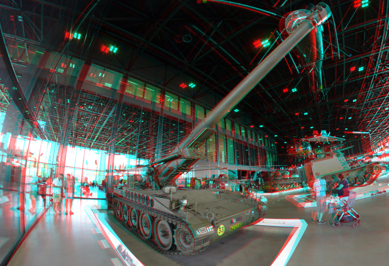 Nationaal Militair Museum Soesterberg 3D -  NMM Soesterberg 3D anaglyph red/cyan<br /> Houwitzer<br /> Rokinon 8mm D7000 cha-cha