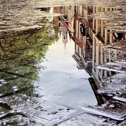 Reflectie in de stad.