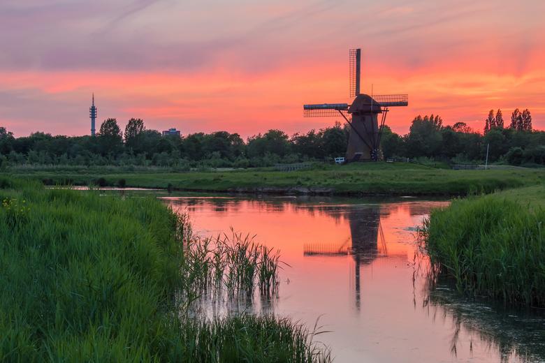 pink sunset - Een HDR opname van de pendrechtse molen in Barendrecht, om zoveel mogelijk kleur en details te behouden in de lucht en het gras. Omdat h