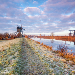 Frisse ochtend in Kinderdijk