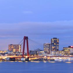 Blue hour red bridge